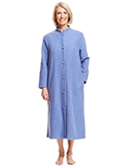 Button Through Jacquard Floral & Quilted Design Dressing Gown