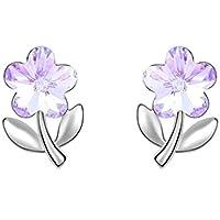 Crystal Flower Stem Earrings Swarovski Element Silver Stud Violet