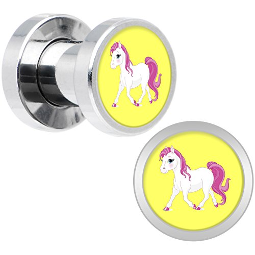 Body Candy Stainless Steel Blushing Pink White Pony Screw Fit Double Flare Plug Pair 4 Gauge (Pony Plug Adult compare prices)