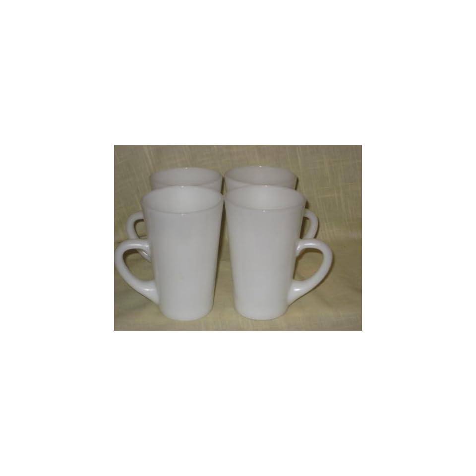 Set Of 4   RARE 1960s Anchor Hocking Fire King Milk Glass Patio Mugs