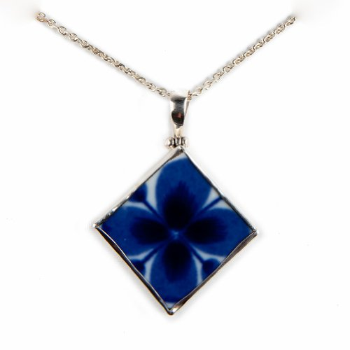 Pavo Jewelry Vintage Porcelain and 925 Sterling Silver Pendant, Indigo Flower Design, Mon Amie Pattern from the Historic Rörstrand Castle (Diamond)