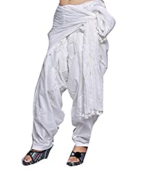 Shiva Collections Women's Cotton Patiala Salwar with Dupatta (scs1035_White_Free Size)