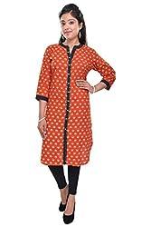 Nishiva Women's Orange Cotton Kurta NWK1012_S