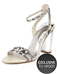 Autograph Leather Faux Snakeskin Clear Heel Sandals with Insolia