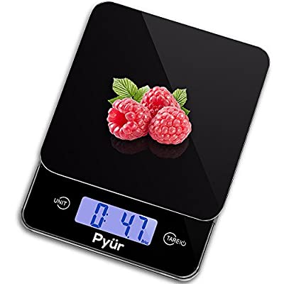 Best Multifunction Digital Kitchen Scale and Food Scale, Tempered Glass Platform, Accurate Weight Watchers up to 11 lbs (5 kg) & Easy-to-use, 2 AAA Batteries Required (included) - Elegant Black