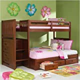 Merlot Twin Over Full Staircase Bunk Bed