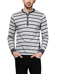American Crew Men's Striped Henley Full Sleeves T-Shirt (Light Grey & Dark Grey)