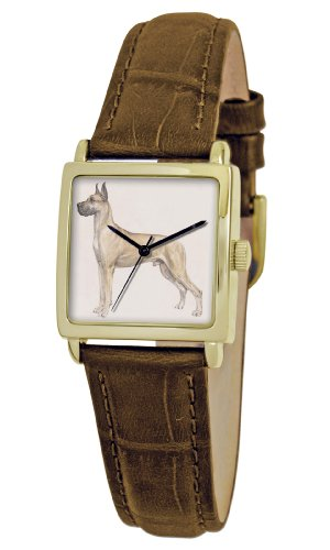 American Kennel Club Women's D1735S011 Great Dane Gold-Tone Brown Leather Watch