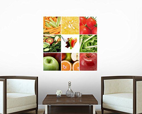 Healthy Fruit And Vegetables Collage Wall Decal - 36 Inches H X 36 Inches W - Peel And Stick Removable Graphic