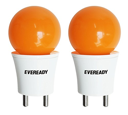 Eveready 0.5W Deco Plug and Play T-type LED Bulb (Orange, Pack of 2)