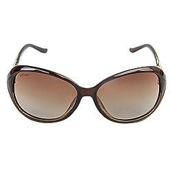 Walnut Brown Round Frames Sunglass For Women