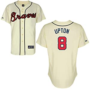 Justin Upton Atlanta Braves Alternate Ivory Replica Jersey by Majestic by Majestic