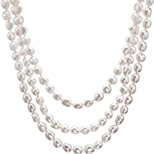 HinsonGayle Extreme Baroque Collection Handpicked Ultra-Iridescence White Baroque Cultured Pearl Rope Necklace (65 Inches) {{{GET A FREE NECKLACE WITH COUPON, SEE DETAILS BELOW}}}
