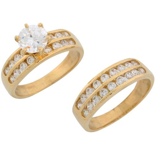 14ct Yellow Gold White CZ Brilliant Ladies Engagement And Wedding Ring Duo Set