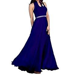 Fashion Gallery Blue Designer Velvet Gown