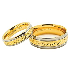 Matching 5mm & 7mm Golden Colored Middle Facet Titanium Wedding Rings (US Sizes 5mm:4-15; 7mm:4-16)