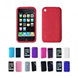 Apple iPhone 3G 3Gs 8GB 16GB 32GB Textured Silicone Skin Case Cover + Free Screen Protector, Red, One Size
