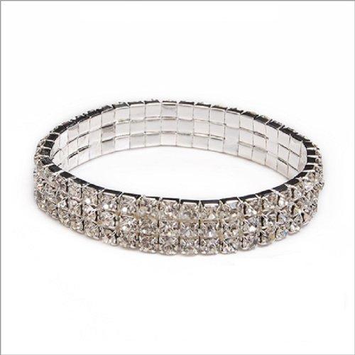 JOA Rhinestone Crystal 3 Lines Bracelet #040017