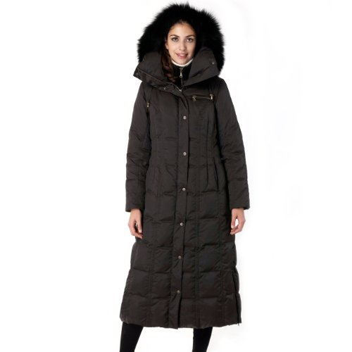 Phistic Women's Long Hooded Puffer Down Coat with Faux Fox Fur Trim - Black S