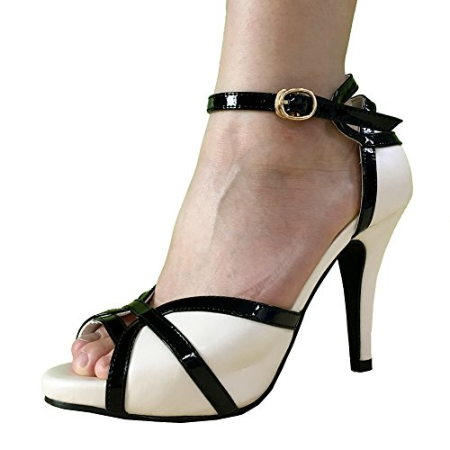 Getmorebeauty Women's Ivory Black Peep Toes Buckle Dress Heeled Sandals 7 B(M) US
