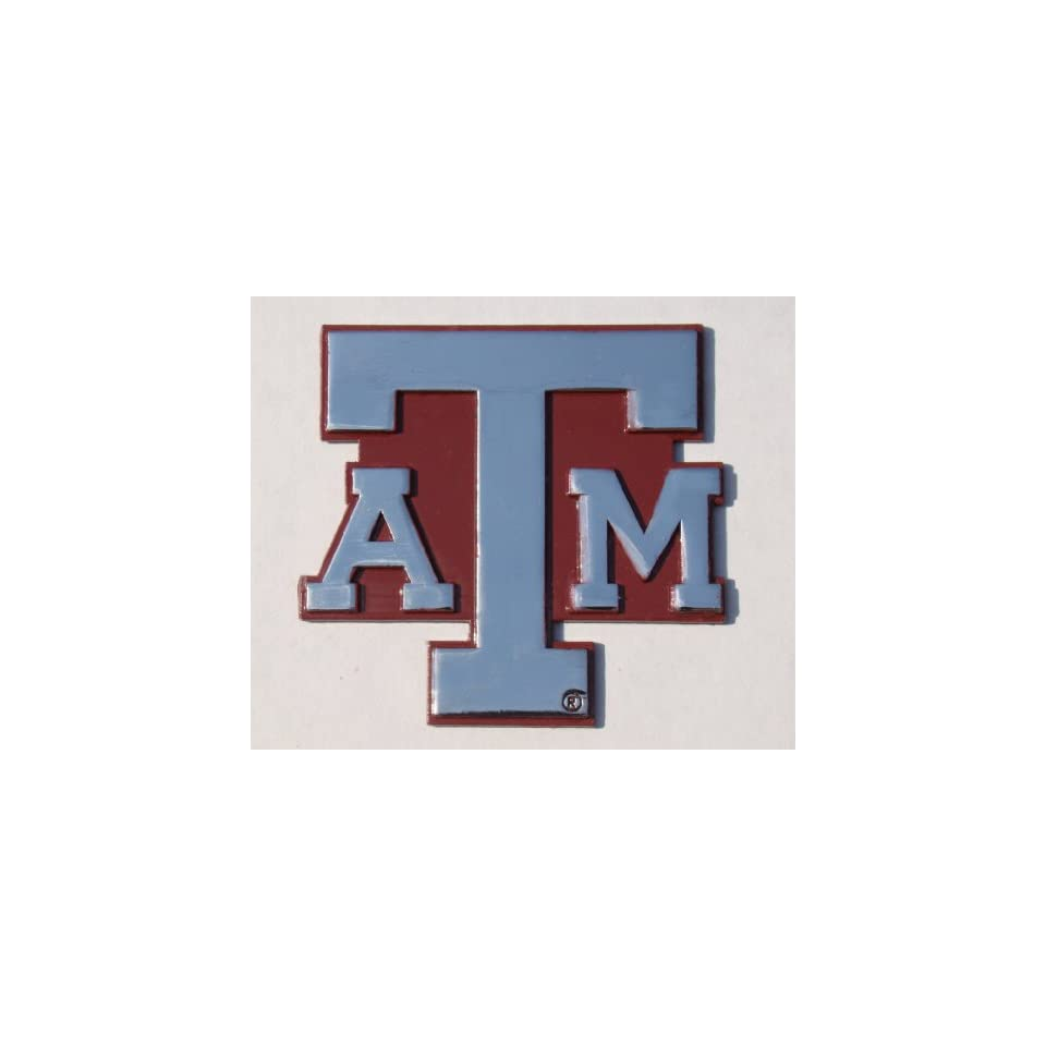 Texas A&M Aggies Premium Chrome Metal Auto Emblem with Maroon Background