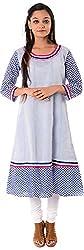 Kaashvi Creations Women's Cotton A-Line Kurta (99901000000164-M, Blue, Medium)