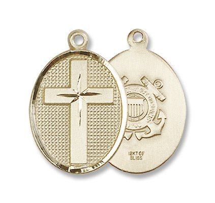 Gold Filled Cross / Coast Guard Pendant with 18