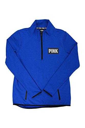 Victoria's Secret PINK Royal Blue/Black Half Zip-Up Sweater (Large)
