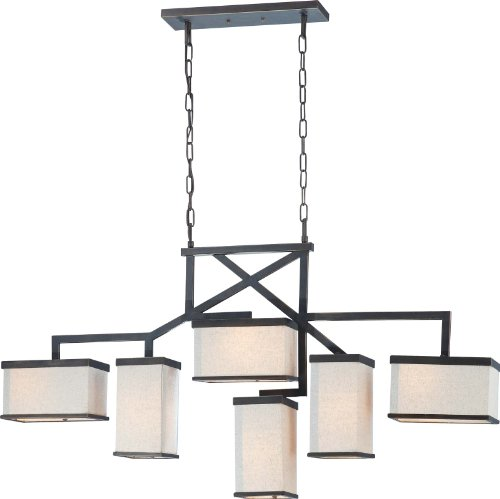 Nuvo Lighting 60/4396 Six Light Skyline Island Pendant with Beige Linen Shade/Cream Diffuser, Bali Bronze