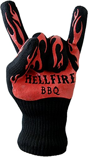 Hellfire BBQ Gloves Protect From Flames And Heat Up To 666F--That'S Devilishly Hot! Premium Barbecue And Kitchen Heat Resistant Mitt Has 5 Flexible Fingers For Grill, Smoker, Oven Baking, Fireplace, Or Withstanding Eternal Torment! Non-Slip Silicone Grip