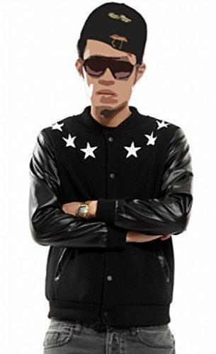 Easy Men Unisex Hip Hop Leather Sleeves Zipper Baseball Jacket Xx-Large Black