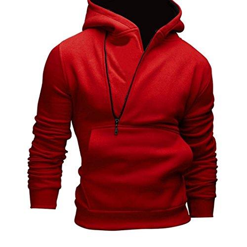 Felpa uomo, FEITONG felpa con cappuccio manica lunga con cappuccio giacca cappotto outwear cime (Rosso, XL)