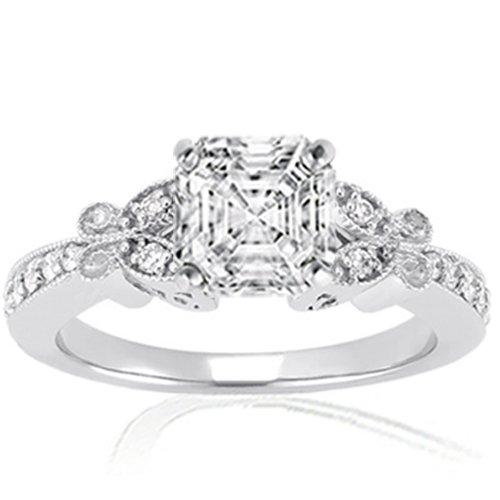 Best Price 50 Ct Asscher Cut Diamond Fleur Engagement Ring VVS1 E Review