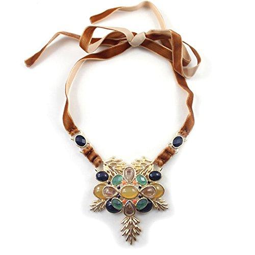 Heyjewels Retro Vintage Flower Statement Necklace Rhinestone Inlay Adjustable Ribbon Birthday Party Cluster Jewelry
