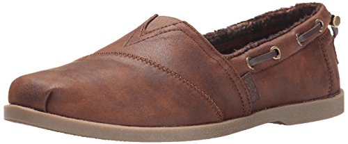 BOBS from Skechers Women's Chill Luxe - Buttoned Up Flat, Brown, 9 W US