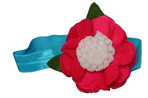 PinkXenia Felt Flower Rosette Ruffle Fall Fuschia Pink Newborn BabyGirl Soft Headband