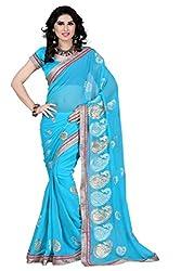 Pruthu Printed Fashionable Embroidered Chiffon Saree