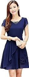 Dress({Choice Fashion_Blue_Embroidery_Georgette_Women's Dress})