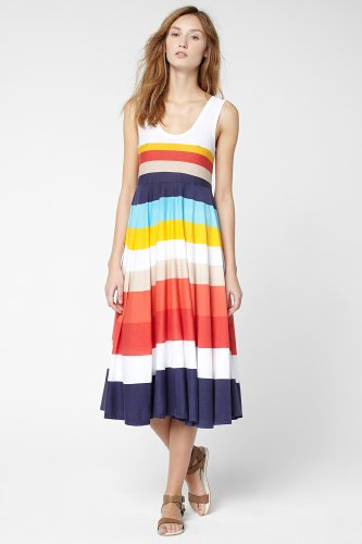 Multi-Colored Bold Stripe Tank Dress