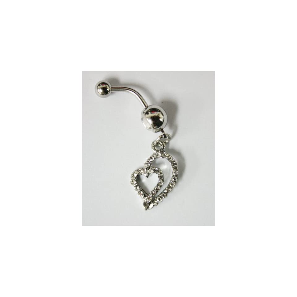 Cubic Zirconia Gemstone Double Heart Belly Ring   Navel Ring