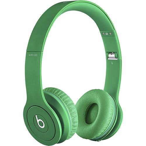 Beats Solo Hd Monochromatic Color Headphones Drenched In Green Bundle With Beats Cable With Microphone And Custom Designed Zorro Sounds Cleaning Cloth