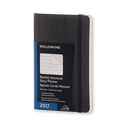 Moleskine 2017 Monthly Notebook, 12M, Pocket, Black, Soft Cover (3.5 x 5.5)