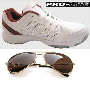 New Prolite Sports Wear RED Color Shoes and MTV Brown Sunglasses. | Sizes UK-7