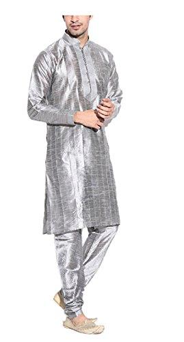 Mens-Silver-Traditional-Pintex-Kurta-Churidar