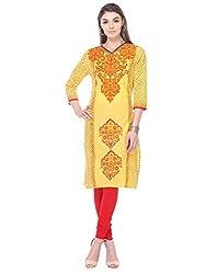 Aamii Women Block Printed Kurta (Aamii-823-XXL, Yellow, Red, XX-Large)