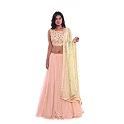 Peack net lehenga and golden embroidered blouse with pista green net duppatta