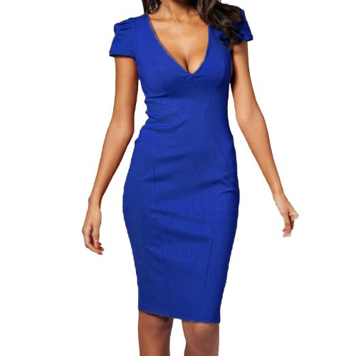 Fancy That Clothing Women's Midi Length Plunge V-Neck Cap-Sleeve Pencil Dress