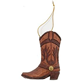 Western Boot Ornament (Hand-carved of Wood)