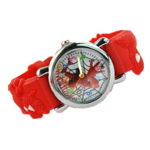Spiderman Watch With Radom Post Black Or Blue Jelly Band - Children'S Size (Red)