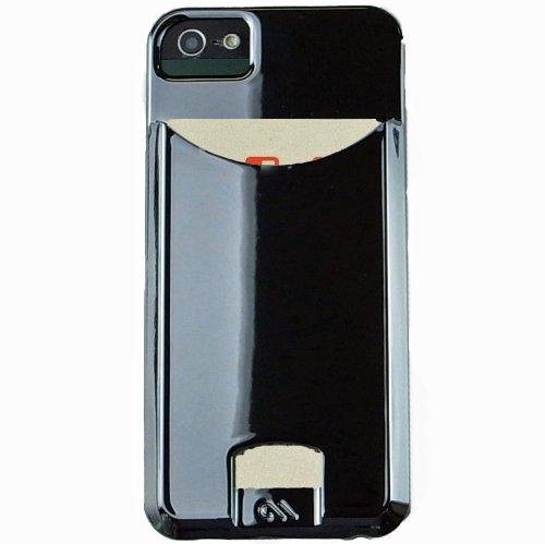 【日本限定特典 自動改札機エラー防止シート付属】 Case-Mate 日本正規品 iPhone5s / 5 Barely There ID Case, Gloss Metallic Silver ベアリーゼア ID ケース, クローム 【カードホルダー つき】 CM025683